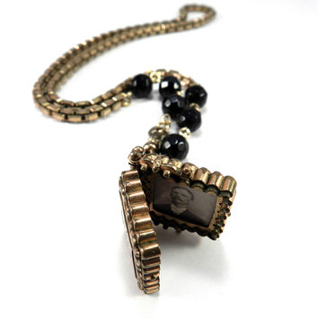 Victorian Mourning Jewelry, SWEETHEARTS Watch Fob Locket