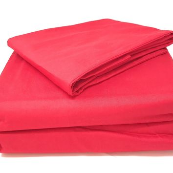 Tache 2 to 3 PC Cotton Solid Vibrant Red Bed sheet (Fitted Sheet) (BS3PC-RR)