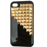 Leegoal(TM) Punk Pyramid Studs and Spikes Mobile Phone Case for iPhone 4/4S DIY Studs Cell Phone Case Black Golden