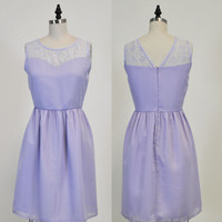 LORRAINE (Lavender) : Lavender purple chiffon dress, lace sweetheart neckline, vintage inspired, party, day, bridesmaid