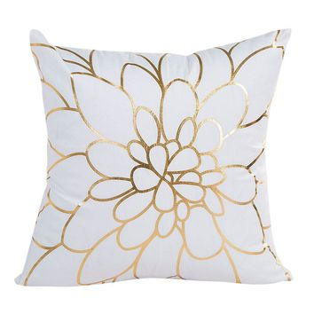 Gold Foil Printing Pillow Case Sofa Waist Throw Cushion Cover Home Decor