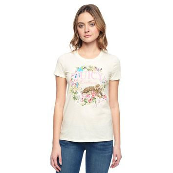 Juicy Couture Floral Tiger Graphic Tee T011 Women T-shirt White