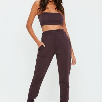 Missguided - Brown Slim Leg Joggers