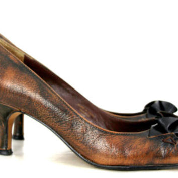 UNUSUAL MAX STUDIO MARBLE BROWN GENUINE LEATHER BOW DECOR MED HEEL SHOES SZ 7.5M