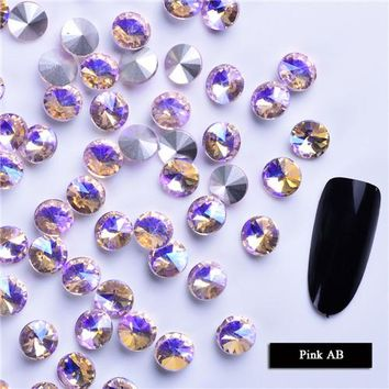 10pcs Shiny Crystal AB Sharp Bottom Rhinestone 3D Glass Nail Art Rhinestones Charm Starry AB Stones Nail Decorations DIY LA159