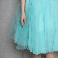 KToo USA Layered Tulle Midi Skirt - Mint