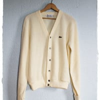 Vintage 80's Ivory Alligator Cardigan Sweater