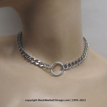 Lockable O-Ring Day Collar with Mini Heart Padlock Closure