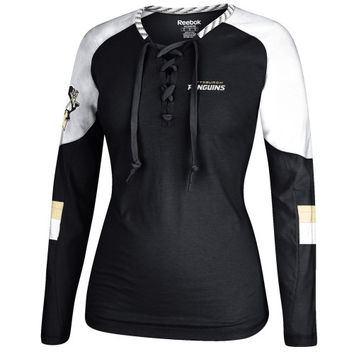Pittsburgh Penguins Reebok Women's Lace-Up Long Sleeve Hockey Top – Black/White