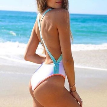 2017 L*Space maniac Swimwear High Cut White Color Block One Piece Swimsuit Cross Bandage Monokini Backless Bathing Suit Bodysuit