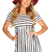 White Navy Stripe Short Sleeve Casual Summer Dress