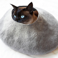 Grey Cat Bed Cave House Felted Wool with FREE Cat Ball- Large medium or small
