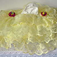 Yellow Lace Tissue Box Cover-Tissue Box Cover With Pencil Shaving Flower Insets, Victorian Inspired Lace Box Cover