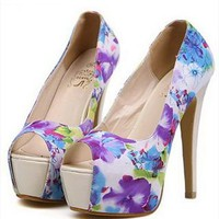 Flora Print High Heels with Peep Toe Design Blue FFN436 from topsales