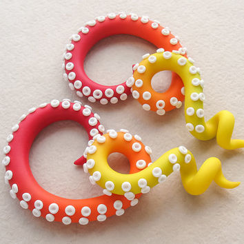 Tentacle Plugs or Fake Gauge Earrings, Octopus Gauges, Ombre Tentacle Gauges, Ear Gauges, Festival Earrings