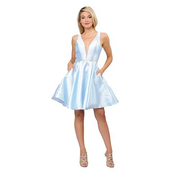 Light Blue Satin V-Neck Embellished Waist A-Line Homecoming Dress Short