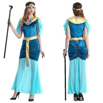 DCCKFS2 Egyptian Halloween Costumes Women Cleopatra Cosplay Princess Dress Holiday Party Egypt Adult Costume
