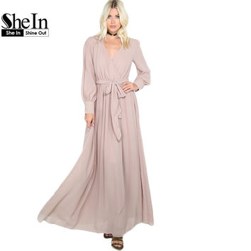 SheIn Ladies Maxi Dresses Long Khaki Flowy Gathered Maxi Dress 2017 Casual Women's Long Sleeve V Neck A Line Dress