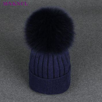 2017 New Real Fox Fur Pom Poms Ball Keep Warm Winter Hat For Women Girl 's Wool Hat Knitted Beanies Cap Thick Female Cap