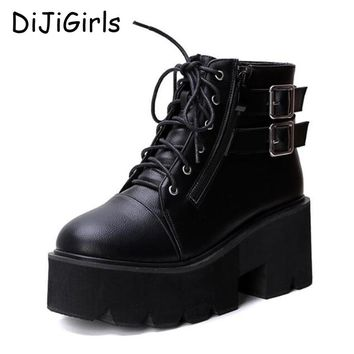 lace up winter boots with fur women punk boots platform shoes woman wedges high heels ladies motorcycle women ankle boots C640