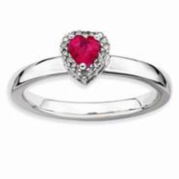 Sterling Silver Ruby Heart Diamond Ring