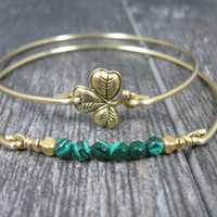 Bangle Bracelet, Set, Gold Shamrock Bracelet,  Green Malachite Bracelet, Gold Shamrock, Green Gemstones,  Irish Jewelry, St Patricks Day
