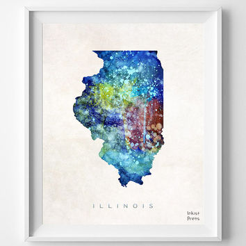 Illinois Watercolor, Poster, Map, Painting, Home Town, Art, USA, States, America, Wall Decor, silhouette, state love [NO 335]