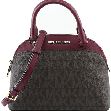 Michael Kors EMMY Womens Shoulder Handbag SMALL DOME SATCHEL (Brown/cherry) 6911