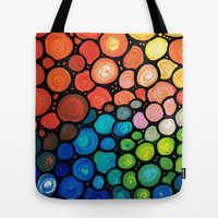 River's Edge - Colorful Mosaic abstract by Labor of Love artist Sharon Cummings. Tote Bag by Sharon Cummings