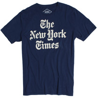 New York Times Newspaper Header Logo on a navy graphic tee