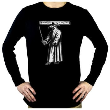 Death Plague Doctor with Bird Mask Men's Long Sleeve T-Shirt Alternative Clothing