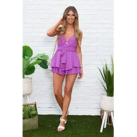 Night Out Ruffle Romper (Violet)
