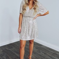 All Eyes On You Dress: Champagne