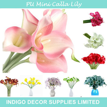 Promotion Mini Size PU Calla Lily Real Touch Many Colors Decorative Flower Artificial Flower Wedding Party Flower Free Shipping