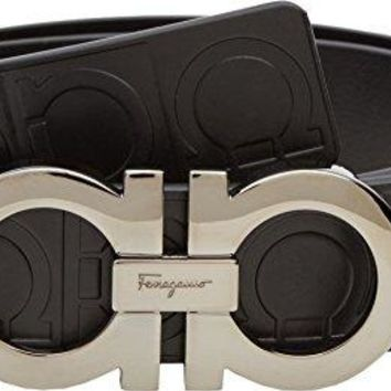 Salvatore Ferragamo  Men's Double Gancini Sized Belt 679169 Nero 44