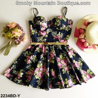 Black Floral Multi Color Bustier Dress with Adjustable Straps Size S/M - BDY2234