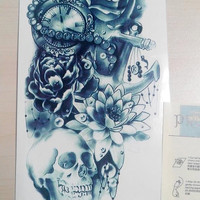 temporary tattoo large  big colorful Skullcandy Skull crossbones skull human skeleton fake body art pattern arm vintage forearm stickers