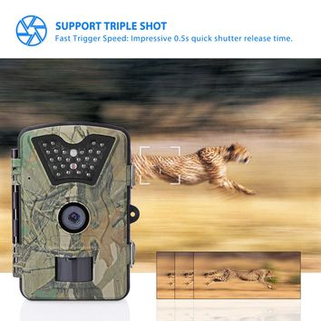 """Game & Trail Camera 1080P FHD 12MP Waterproof Wildlife Cameras 120 Degrees Detect Angle/Infrared Night Vision/Motion Activated/0.5s Trigger Speed Surveillance Camera with 2.4"""" LCD Screen & 42pcs IR LEDs"""