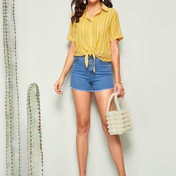 Vertical Striped Knotted Front Shirt