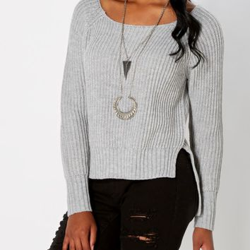 Heather Gray Split Hem Skimmer Sweater | Sweaters | rue21