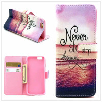 Hight Qulity Motivational Print PU Leather Case Cover Wallet for iPhone 6 / iPhone plus
