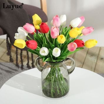 Luyue 11 pcs/lot Real Touch Tulip Artificial Flower PU Simulation bouquet flowers For Home Wedding decorative flowers & wreaths