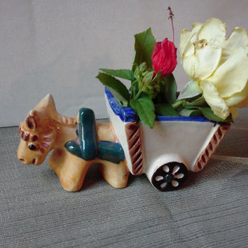 Donkey Pulling Cart Vintage Small Porcelain Planter Figurine 1940s Made in Occupied Japan Home Garden Decor