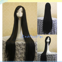 100cm Sengoku Basara Akechi Mitsuhide Long Black Cosplay Wigs, Costume Wig for Party UF030