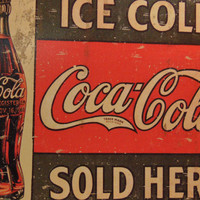 Coca Cola Tin Sign Advertising Reproduction Kitchen Country Vintage Decor #553