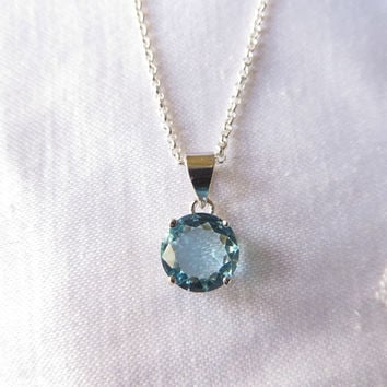 "Sterling Aquamarine Necklace, Aqua Glass Solitaire Pendant,  16"" Chain"