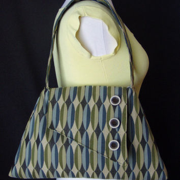 Retro Yet Modern -- Angular Shaped Purse -- Extra Roomy -- Button Decoration -- Heavy Duty Material -- Geometric Green Blue and Tan Pattern