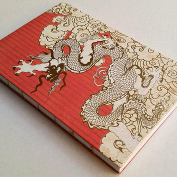 Chinese gold dragon journal with 80 blank pages 5.5X8.5