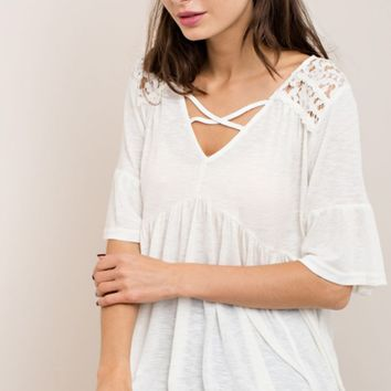 Cream Contrasting Lace Baby Doll Top