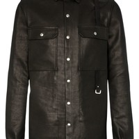 Black Calf Leather Button-Up Rick Owens